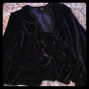 Lane Bryant Black Velvet Ruffle Blazer